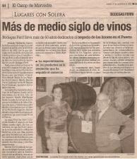 Noticia con motivo del 50 aniversario de Bodegas Ferri en el Levante-EMV en noviembre de 2002