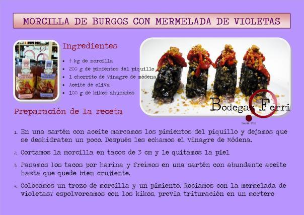 Morcilla de Burgos con mermelada de violetas